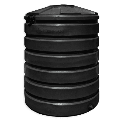 Bushman 420 Gallon Round Rainwater Harvesting Tank in Black